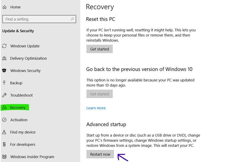 setting windows recovery
